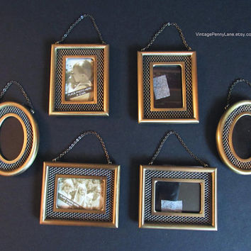 6 Picture Frame Lot, Hallmark Brushed Brass, Photo Frames, Miniature Frames, Mini Picture Frames, Wall Hanging