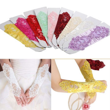 Chic Bride Wedding Party Dress Fingerless Pearl Lace Satin Bridal Gloves Costume = 1929429316