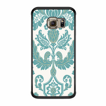 Turquoise And Cream Damask Samsung Galaxy S6 Edge Plus Case