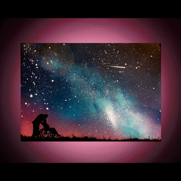 Spray Paint Art - Wall Art - Anniversary Painting - Space Art - Custom Paintings on canvas - Love - Old Couple