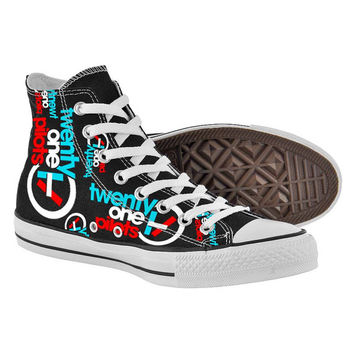 Twenty One Pilots Shoes,High Top,canvas shoes,Painted Shoes,Special Christmas Gift,Birthday gift,Men Shoes,Women Shoes