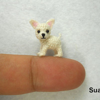 Micro White Chihuahua Dog - Tiny Crochet Dollhouse Miniature Pet - Made to Order