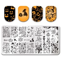 Halloween Nail Art Stamping Rectangle Template Pumpkin Ghost Skull Nail Image Stencil Plate BP-L099 For Manicure