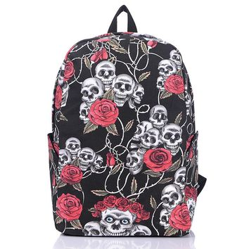 Men Women Travel Skull Rose Flower Printed Fashion Designer Bag Laptop Backpack Casual