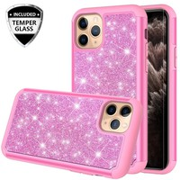 Apple iPhone 11 Pro Case, Glitter Bling Heavy Duty Shock Proof Hybrid Case with [HD Screen Protector] Dual Layer Protective Phone Case Cover for Apple iPhone 11 Pro - Hot Pink