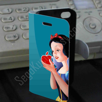 Snow White Apple Logo Leather Folio Case for iPhone and Samsung Galaxy