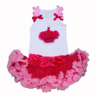 Girls First Birthday Dress- Sweet  Hot Pink Glitter  Cupcake Tutu Set