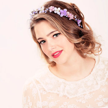 Bridal flower crown Purple flower woodland by serenitycrystal