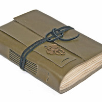 Olive Green Leather Journal with Tea Stained Paper and Dragon Bookmark - Ready to Ship -