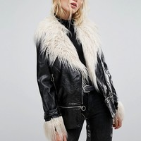 Neon Rose Longline Biker Jacket In High Shine Vinyl With Faux Mongolian Fur at asos.com