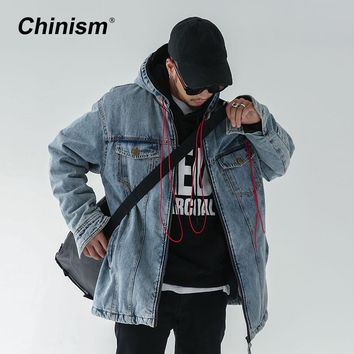 CHINISM 2017 New Winter Letter Print Mens Denim Jackets Hoody Vintage Multi-Pocket Jeans Outwear Parkas Men's Fashion Hoodies
