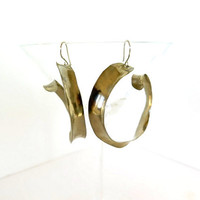 Large silver hoops, anti clastic inside outside hoop earrings, artisan made gift under 40
