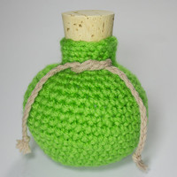 Gaming Dice Bag - Crochet Lime Green Potion Bottle Nerd Geek Dice Bag