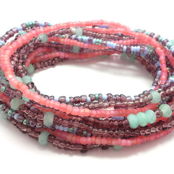 Seed bead wrap stretch bracelets, stacking, beaded, boho anklet, bohemian, stretchy stackable multi strand, pink purple blue mint jade