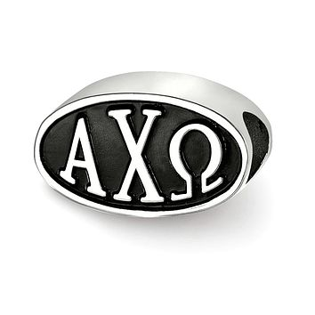 Sterling Silver Alpha Chi Omega Letters Bead Charm