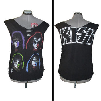 Vintage 1994 Kiss Shredded and Weaved Band T Shirt