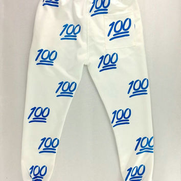 emoji Keep it 100 White Blue High Quality jogger pants