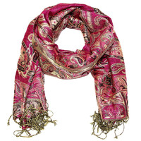 Cozy by Lulu- Aashna Pashmina Scarf in Burgundy Tones