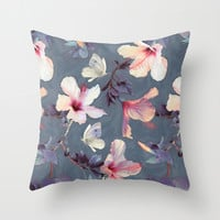 Butterflies and Hibiscus Flowers - a painted pattern Throw Pillow by Micklyn