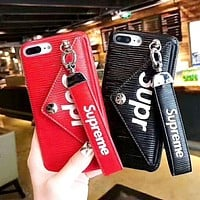 Supreme Tide brand leather card wristband with iPhoneX phone case
