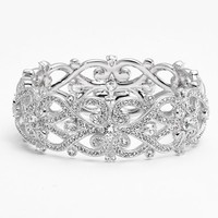 Women's Nadri 'Celtic Knot' Crystal Bangle - Silver/ Clear
