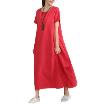 2017 New Womens Retro Round Neck Short Sleeve Pockets Robe Casual Loose Summer Kaftan Cotton Solid Long Dress Baggy Vestido