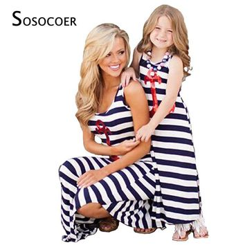 SOSOCOER Mother Daughter Dresses Navy Striped 2018 Summer Mom Daughter Clothes Sequin Anchor Sleeveless Dress Family Matching