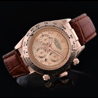Rolex Trending Women Men Leather Business Sport Movement Couple Watch Brown Rose Gold I-SBHY-WSL