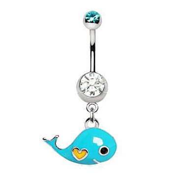 Lovely Blue Whale Dangle Navel Ring