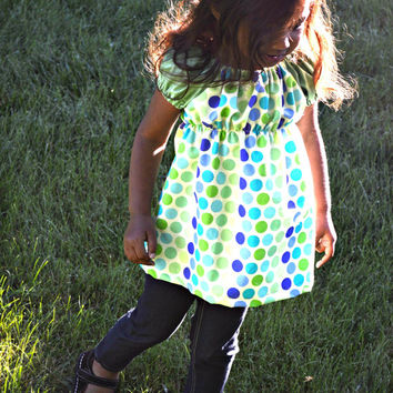 Little Girl Polka Dot Tunic with Cap Sleeves - Green, Teal, Blue Designer American Fabric - Choose Size