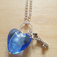 Blue Heart Pendant  Long silver necklace with by FredericaDixon