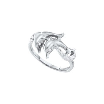 10kt White Gold Womens Round Diamond Double Dolphin Accent Ring 1/20 Cttw 56767