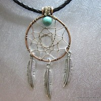 Wire Wrapped Copper Dream Catcher Necklace for Men and Women