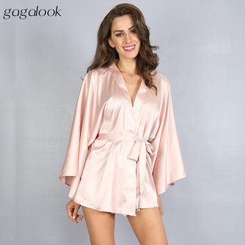 2017 Faux Satin Nightgown Sexy Wrap Robe Women&'s Sleepwear with Sashes HC0040