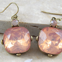 Rounded Stone Drop Earrings