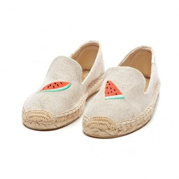 Smoking Slipper Embroidery - Watermelon Sand Espadrilles for Women from Soludos - Soludos Espadrilles