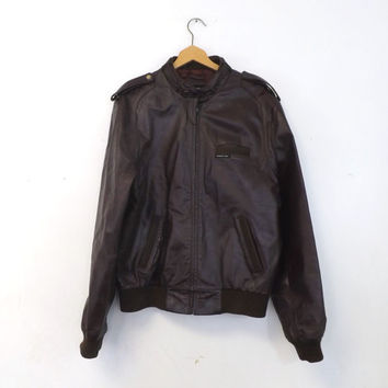 Vintage 1970s Retro Members Only Brown Leather Jacket Coat Mens Blazer Size 44 Large Bomber Motorcycle Jacket Pilot Boho Hipster Classic