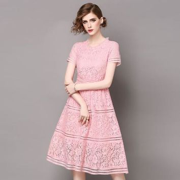 Woman lace over knee calf length vintage high quality dress