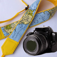 North America, Africa, Australia map camera strap. DSLR  / SLR Camera Strap. World Map Camera Strap. Photo camera accessories.