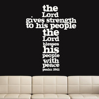 Wall Decal Vinyl Sticker Decals Art Decor Design Cross Jesus Christ God Psalm Pray Religion Prayer Quote Bible Sign Bedroom Dorm (r1141)