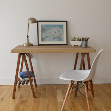 Reclaimed Wood Desk with A Frame Legs - Oxidized Top with Walnut Legs || Free Shipping || Baltimore, Recycle