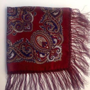 Vintage Burgundy square Fringe Shawl, Red Paisley scarf, Crochet trim fringe, Gift for mom, head-covering, Russian scarf, Cancer head cover