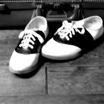 Classic Black & White Saddle Shoes with Rubber Soles