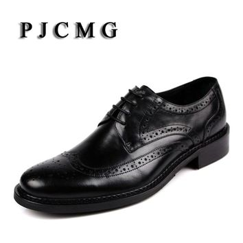 PJCMG New arrival oxfords men shoes genuine leather wingtip carved lace up vintage fashion wedding business male shoes men flats