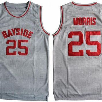 CREYONHS Cheap Basketball Jersey Sleeveless Throwback Zack Morris #25 Bayside Tigers Saved By The Bell Gray S-3XL