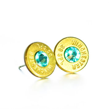 Bullet Stud Earrings - Brass and Light Teal
