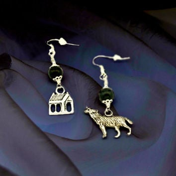 House of Wolves Earrings My Chemical Romance MCR inspired Silver house & wolf, black hand beading on Silver Plated French hook earrings