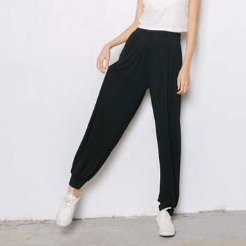 Comfortable modal cotton Pants female wide leg pants long Harem pants hip hop woman elastic stretch oversize trousers sportswear