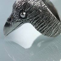 Evermore Raven Head Ring in Sterling Silver Bird Jewelry by Blue Bayer Design NYC