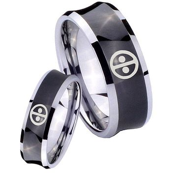 His Her Black Concave Dead Pool Two Tone Tungsten Wedding Rings Set